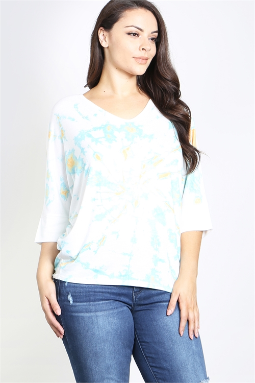 S10-6-4-T784X OFF WHITE AQUA PLUS SIZE TOP 2-2-2