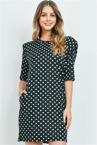 C32-A-2-WD4366-1 BLACK WHITE WITH DOTS DRESS 2-2-2