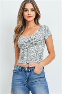C56-A-2-WT2392 GRAY LEOPARD TOP 2-2-2