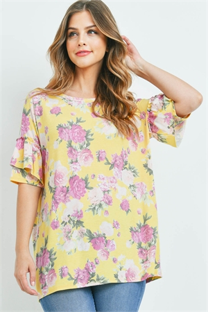 C64-B-3-T7942 YELLOW PRINT FLOWER TOP 2-2-2