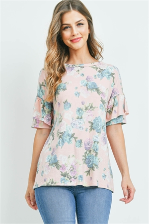 C64-B-3-T7942 BLUSH PRINT FLOWER TOP 2-2-2