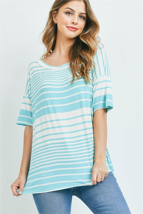 C70-A-2-T7986 AQUA IVORY STRIPES TOP 2-2-2