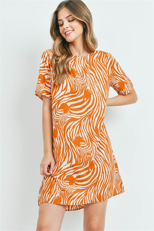 S14-2-4-D1267 CAMEL ZEBRA PRINT DRESS 2-2-2
