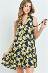 S11-10-1-D7137 BLACK WITH FLOWER PRINT DRESS 2-2-2