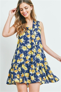S14-5-1-D7137 NAVY WITH FLOWER PRINT DRESS 2-2-2