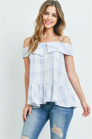 S15-4-4-T7586 BLUE CHECKERED TOP 2-2-2