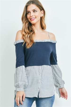 S16-2-4-T7569 OFF WHITE NAVY STRIPES TOP 2-2-2