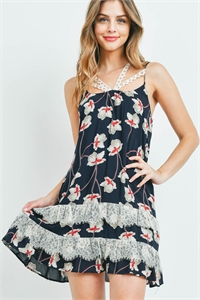 S10-11-4-D7392 NAVY WITH FLOWER PRINT DRESS 2-2-2