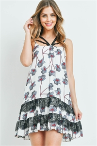 S10-11-3-D7392 WHITE WITH FLOWER PRINT DRESS 2-2-2