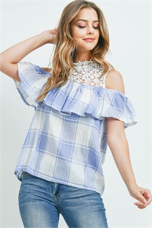 S16-6-5-T7713 IVORY BLUE CHECKERED TOP 2-2-2