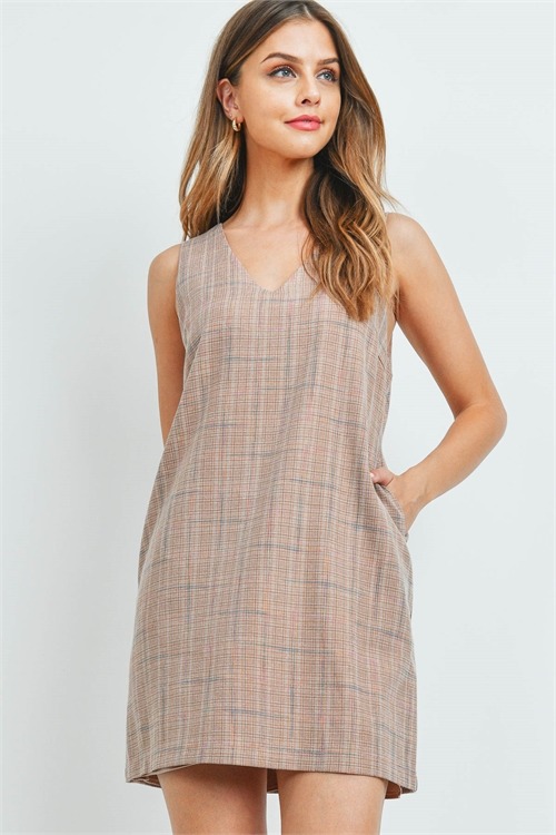 S5-9-2-T2573 TAUPE PLAID DRESS 2-2-2