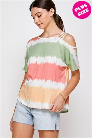 C70-A-2-WT2421X SAGE COMBO STRIPES PLUS SIZE TOP 2-2-2