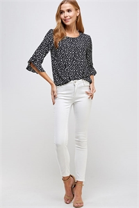 C58-A-1-WT2293 BLACK WHITE PRINT TOP 2-2-2