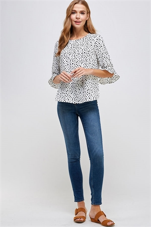 C58-A-1-WT2293 WHITE BLACK PRINT TOP 2-2-2