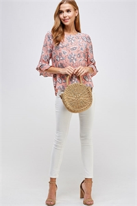C58-A-1-WT2293 PEACH GRAY PRINT TOP 2-2-2