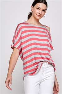 C60-A-2-WT2421 CORAL GRAY STRIPES TOP 2-2-2
