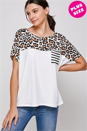 C70-A-1-WT2422X WHITE LEOPARD PLUS SIZE TOP 2-2-2