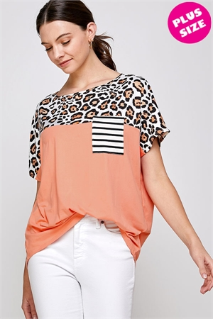 C70-A-1-WT2422X SALMON LEOPARD PLUS SIZE TOP 2-2-2