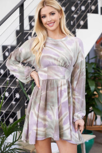 S11-1-2-D50717 TAUPE LILAC TIE DYE DRESS 1-2-2-1