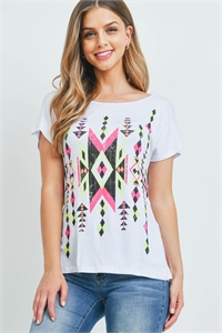 C44-A-2-T1363 WHITE AZTEC PRINT TOP 2-2-2