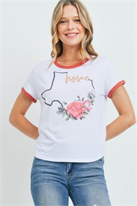 "S5-9-3-T701 WHITE ""HOME"" PRINT TOP 2-2-2"