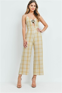 S7-1-1-J7581 MUSTARD CHECKERED JUMPSUIT 2-2-2