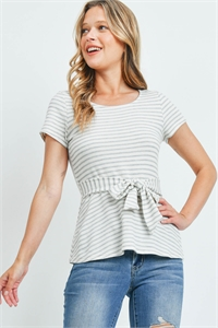 C24-B-2-T9484 IVORY HEATHER GRAY STRIPES TOP 2-2-2