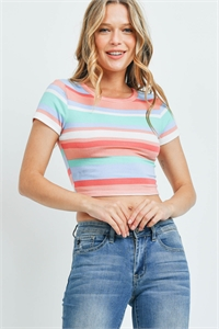 C14-B-2-T3094 PINK MULTI STRIPE TOP 1-2-1