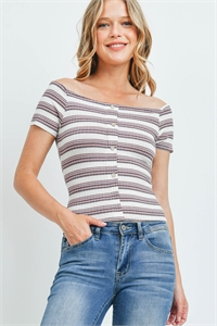 C42-A-2-T6276 STRIPES BUTTON CORAL TOP 2-2-2