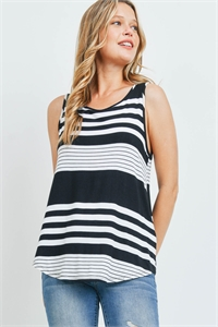 C42-A-2-T3684 BLACK STRIPES TOP 2-2-2