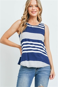 C42-A-2-T3684 NAVY STRIPES TOP 2-2-2