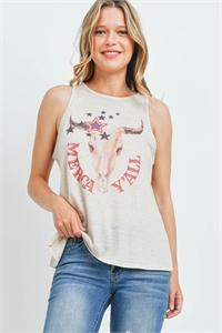 "S16-11-3-T892 SAND ""MERCA Y'ALL"" PRINT TOP 2-2-2"