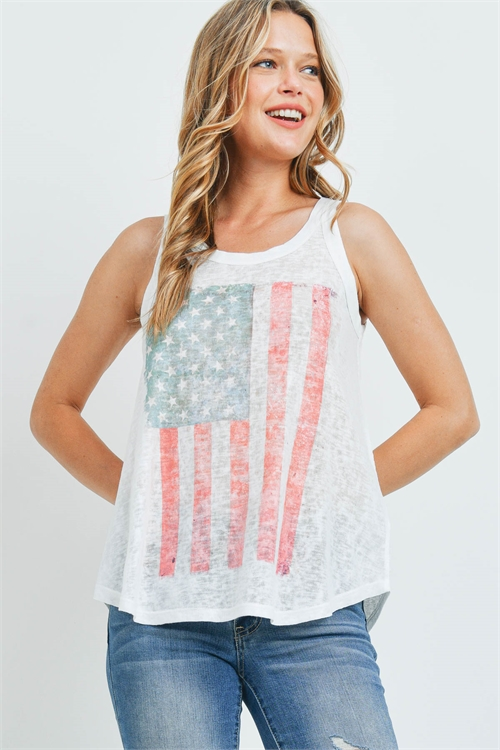 "S16-11-3-T828 WHITE ""AMERICA FLAG"" PRINT TOP 2-2-2"