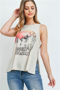 "S15-4-3-T892 SAND ""LONELY ROADS"" PRINT TOP 2-2-2"