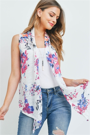S16-11-3-C710 WHITE FLORAL CARDIGAN 1-2-2-1