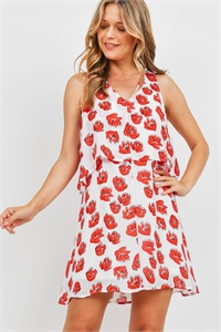 S9-14-3-D6846 WHITE RED FLOWER DRESS 2-2-2