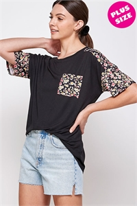 C82-A-2-WT6414X BLACK FLORAL PLUS SIZE TOP 2-2-2