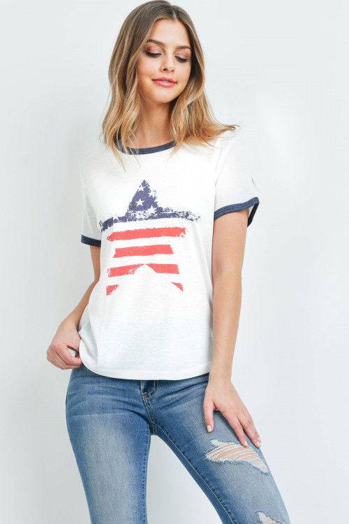"S7-8-4-T701 WHITE ""AMERICAN FLAG STAR"" PRINT TOP 2-2-2"