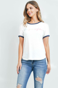 "S7-8-4-T701 WHITE ""LOVE YOUR NEIGHBOR"" PRINT TOP 2-2-2"