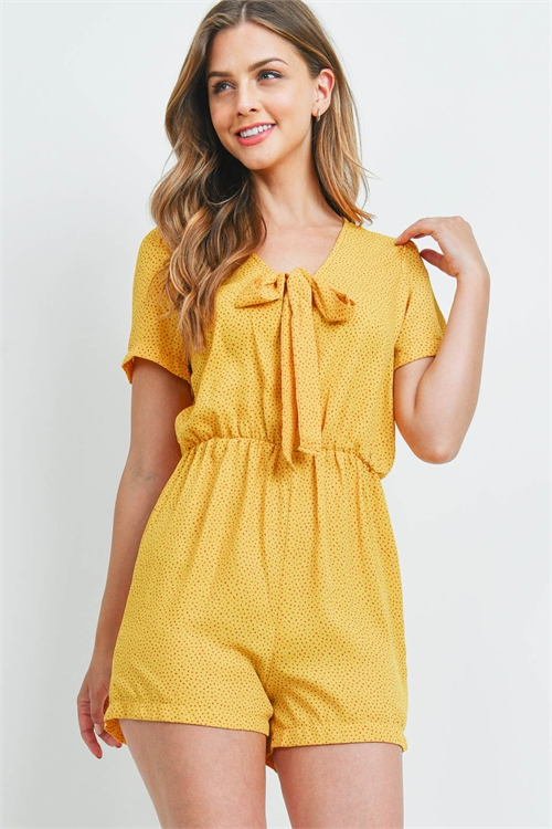 C48-A-3-R14686 YELLOW WITH DOTS ROMPER 2-2-2