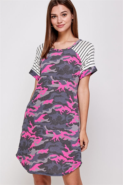 C6-A-3-WD1103 PINK CAMOUFLAGE DRESS 2-2-2