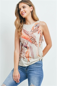 S4-10-2-T892 TAUPE FEATHER PRINT TOP 2-2-2