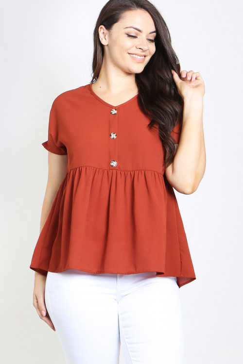C30-A-1-T4571X RUST PLUS SIZE TOP 2-2-2