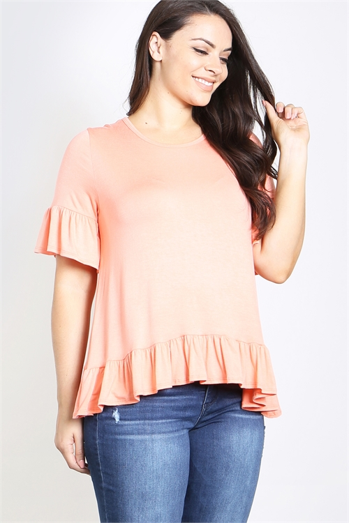 C24-A-2-T2468X CORAL PLUS SIZE TOP 2-2-2