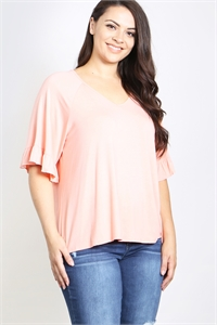 C34-A-2-T4031X PEACH PLUS SIZE TOP 2-2-2