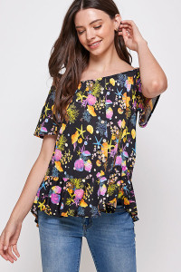 C90-A-3-WT2435 BLACK PRINT TOP 2-2-2