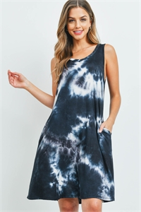 C24-A-1-D4562 BLACK TIE DYE DRESS 2-2-2