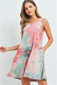 C24-A-1-D4562 MAUVE SAGE TIE DYE DRESS 2-2-2