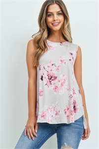 S10-8-1-T7437 TAUPE FLORAL TOP 2-2-2