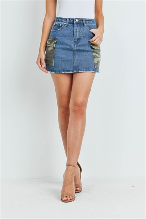 S4-9-1-S7413 MEDIUM DENIM CAMOUFLAGE POCKET SKIRT 3-2-1